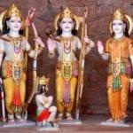 Image of Shree Ram, Laxman, Sita and Lord Hanuman idol at Maa Vaishno Temple.